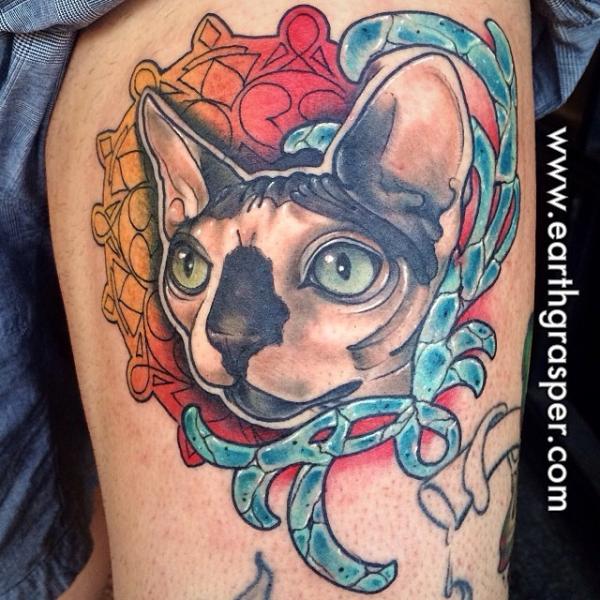 Fantasy Cat Tattoo by Earth Gasper Tattoo