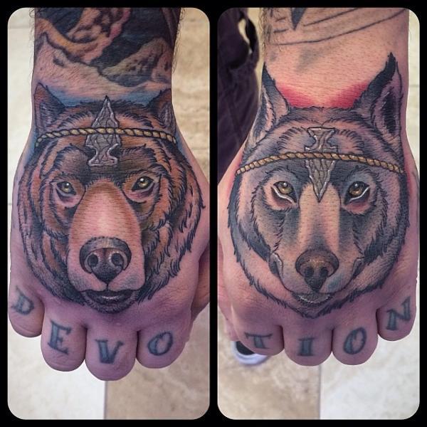 Hand Wolf Bear Tattoo by Earth Gasper Tattoo