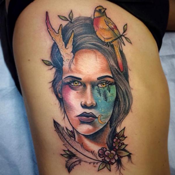Women Bird Thigh Abstract Tattoo by Earth Gasper Tattoo