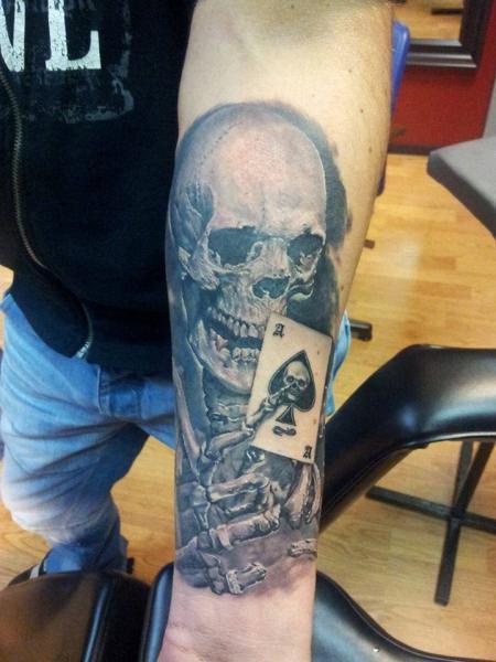 Arm Skeleton Card Tattoo by Eddy Tattoo