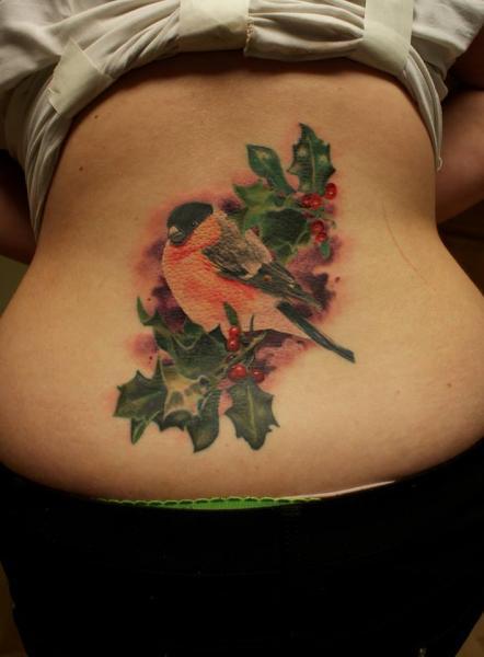 Realistic Back Bird Leaf Tattoo by Eddy Tattoo