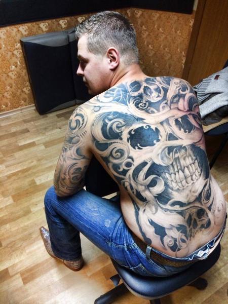 Skull Back Tattoo by Eddy Tattoo