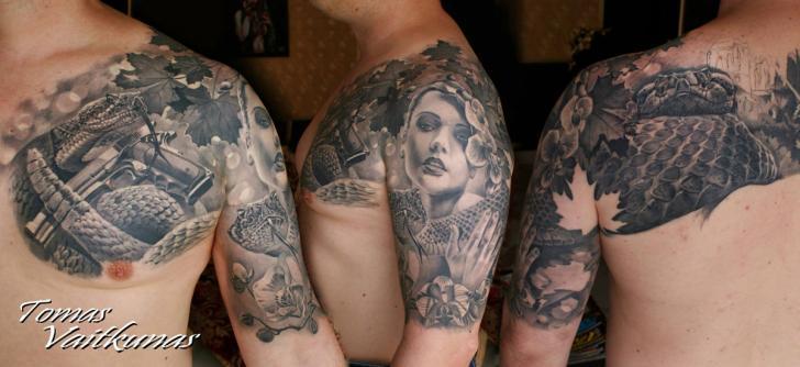 Shoulder Realistic Snake Chest Women Gun Tattoo by Eddy Tattoo