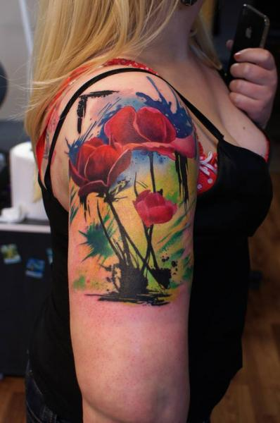 Shoulder Fantasy Flower Tattoo by Eddy Tattoo