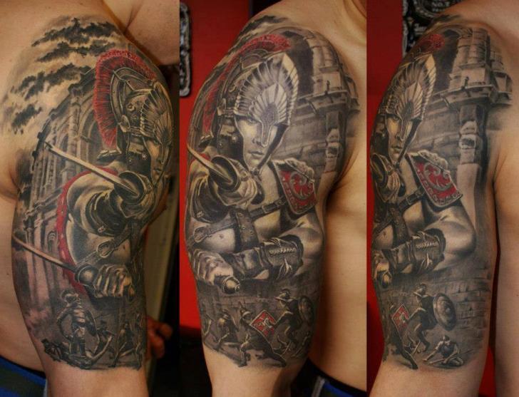Shoulder Realistic Warrior Tattoo by Eddy Tattoo