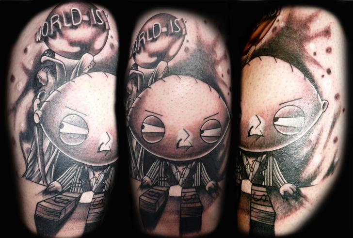 Shoulder Fantasy Character Griffin Stewie Tattoo by Transcend Tattoo