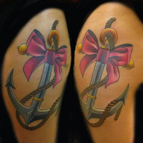 Bein Anker Schleife Seil Tattoo von Transcend Tattoo