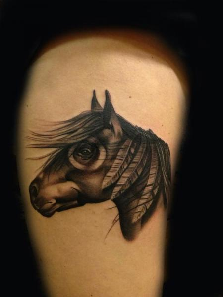 Horse Thigh Tattoo by Transcend Tattoo
