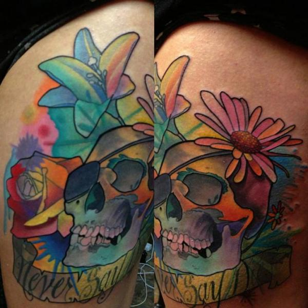 Flower Skull Thigh Tattoo by Transcend Tattoo