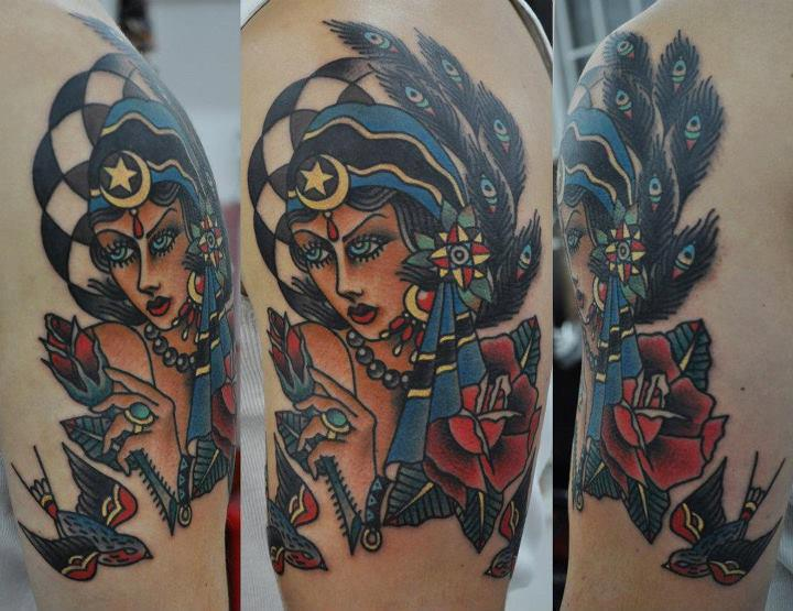 Shoulder Old School Gypsy Tattoo by Hand Made Tattoo