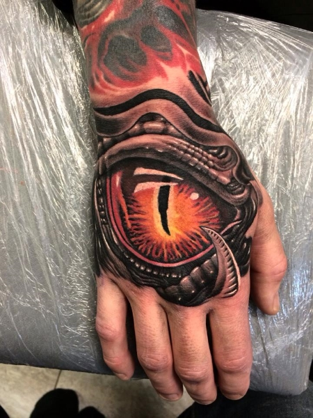 Biomechanical Hand Eye Tattoo by No Remors Tattoo