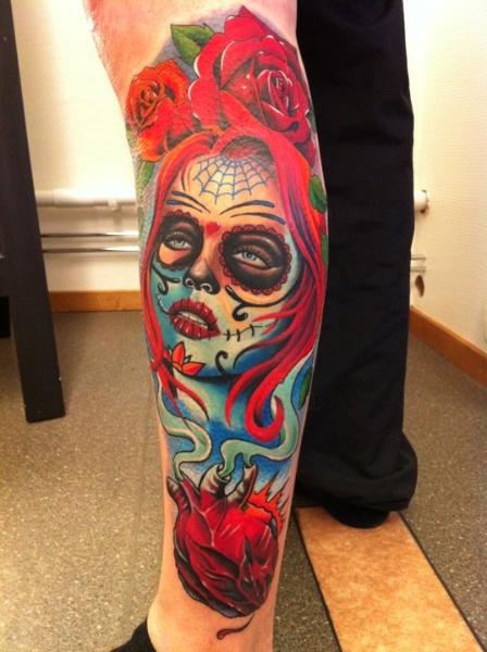 Leg Mexican Skull Tattoo by No Remors Tattoo