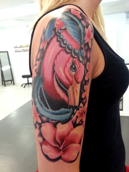 Shoulder Fantasy Flamingo Tattoo by No Remors Tattoo
