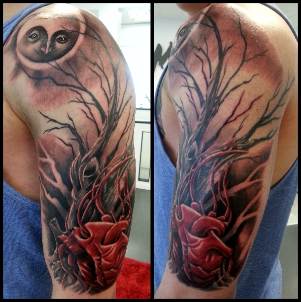 Shoulder Fantasy Heart Tree Moon Tattoo by No Remors Tattoo