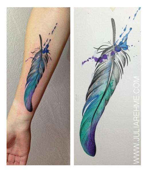 Arm Feather Tattoo by Julia Rehme