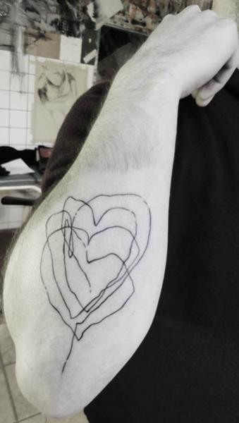 Arm Heart Line Tattoo by Julia Rehme