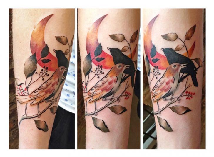 Arm Bird Moon Tattoo by Julia Rehme