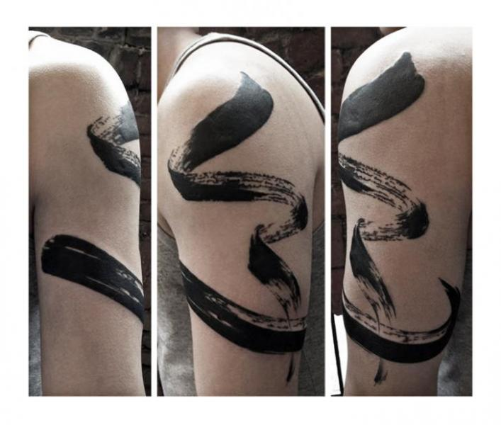Shoulder Abstract Tattoo by Julia Rehme