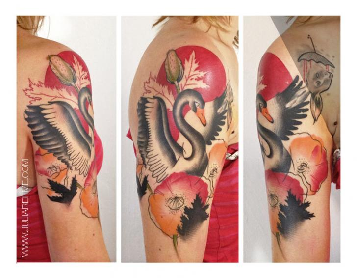 Shoulder Swan Tattoo by Julia Rehme