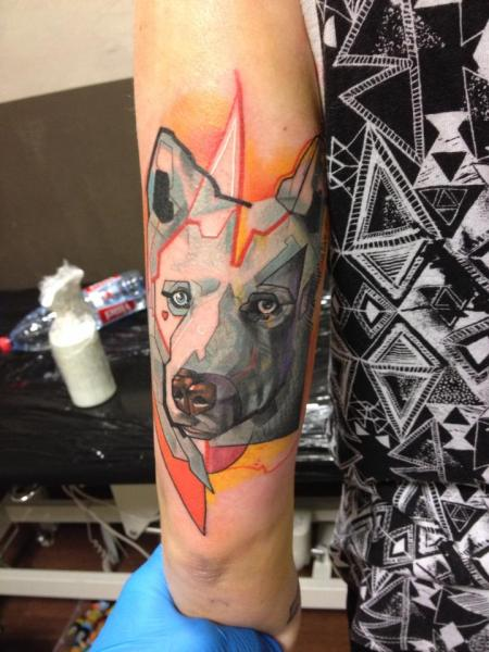 Arm Dog Abstract Tattoo by Voller Konstrat