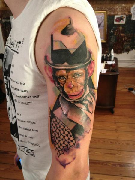 Tatuaggio Spalla Braccio Scimmia Cappello di Voller Konstrat