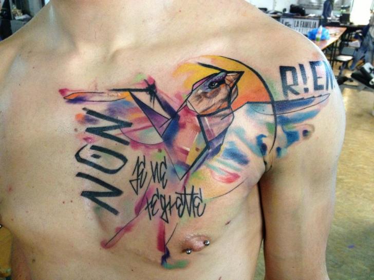 Chest Lettering Bird Tattoo by Voller Konstrat