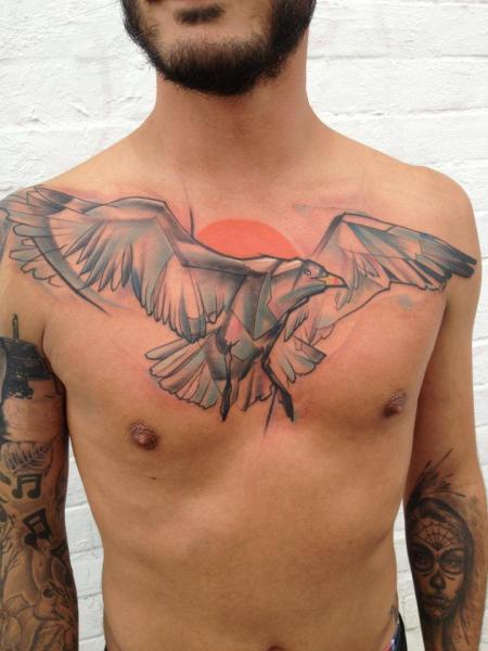 Tatuaggio Petto Uccello di Voller Konstrat
