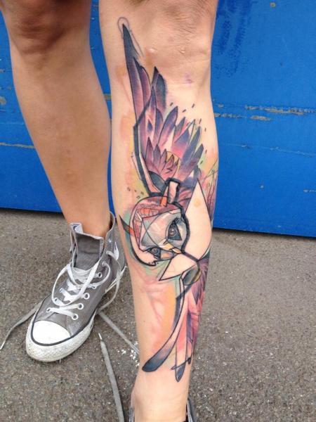 Leg Owl Abstract Tattoo by Voller Konstrat
