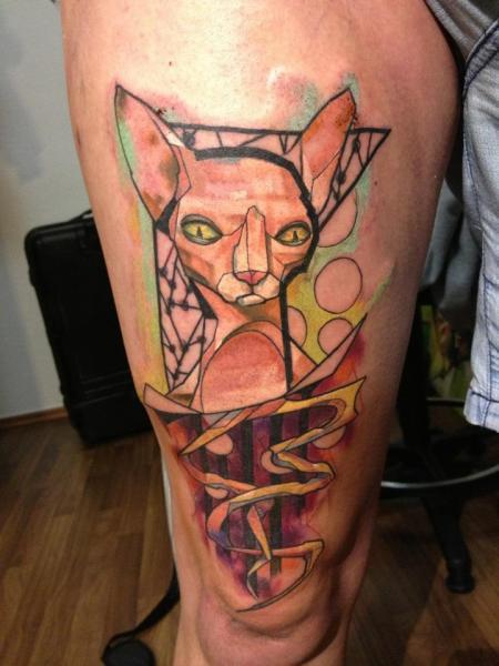 Bein Katzen Tattoo von Voller Konstrat
