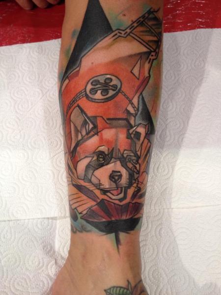 Fantasy Leg Fox Tattoo by Voller Konstrat