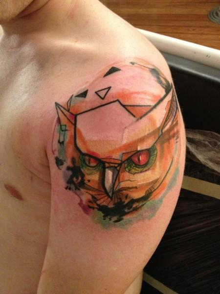 Shoulder Owl Abstract Tattoo by Voller Konstrat