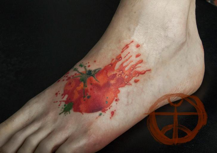 Foot Tomato Tattoo by Galata Tattoo