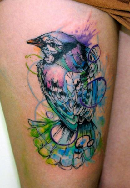 Leg Bird Tattoo by Galata Tattoo