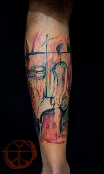 Leg Men Abstract Tattoo by Galata Tattoo