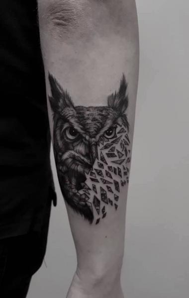 Arm Owl Tattoo by 9th Circle