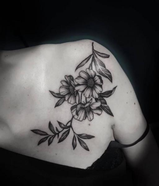 Shoulder Flower Breast Tattoo by 9th Circle
