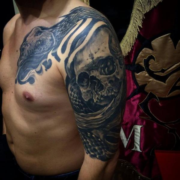Shoulder Arm Snake Chest Skull Tattoo by 9th Circle