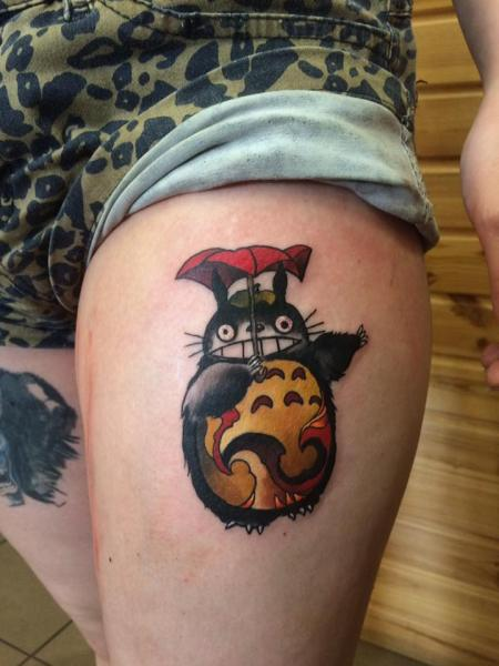 Thigh Totoro Tattoo by 9th Circle