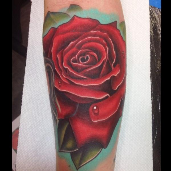 Arm Realistic Flower Rose Tattoo by Mike Woods