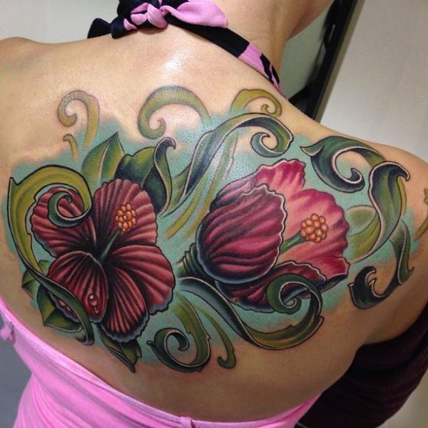 Blumen Rücken Tattoo von Mike Woods