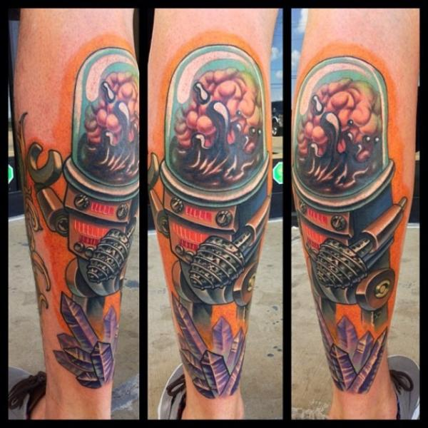 Fantasy Leg Robot Tattoo by Mike Woods