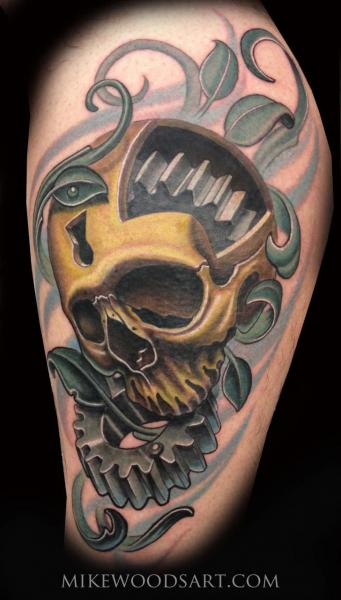 Gear Leg Skull Tattoo By Mike Woods