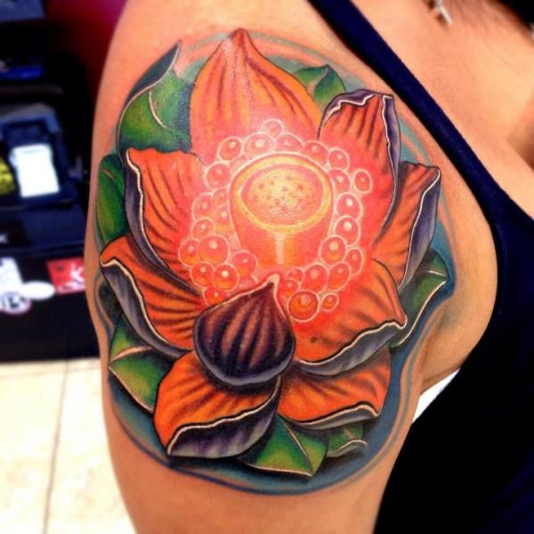 Shoulder Flower Tattoo by Mike Woods