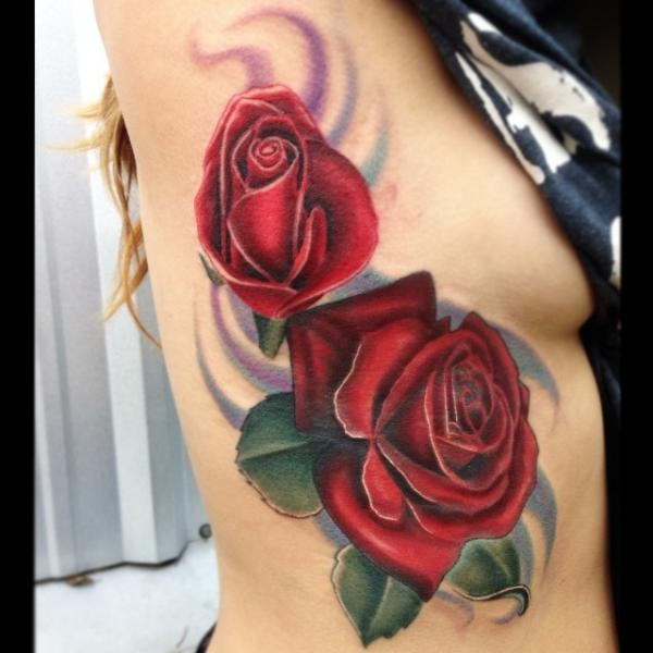 Realistic Flower Side Tattoo by Mike Woods