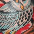 Arm New School Owl tattoo by Rock of Age