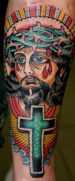 Tatuaje Brazo New School Religioso por Rock of Age