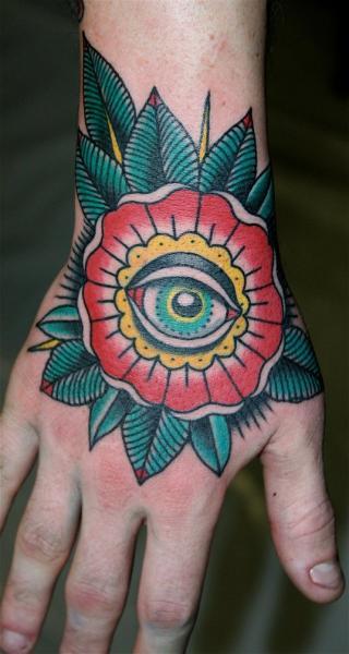 New School Flower Hand Eye Tattoo by Rock of Age
