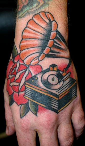 Old School Hand Gramophone Tattoo by Rock of Age