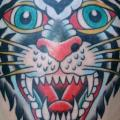 tatuaje New School Cabeza Tigre por Rock of Age