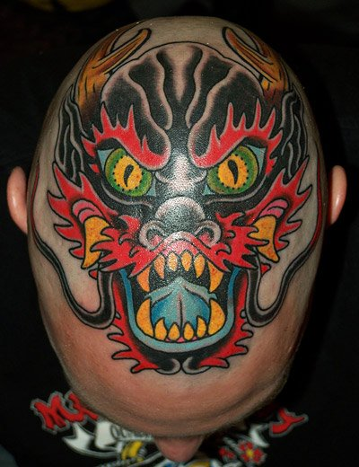 Old School Head Dragon Tattoo by Rock of Age